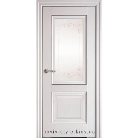 Двери Имидж Новый Стиль белый матовый (Premium) стекло с рисунком р2 + молдинг