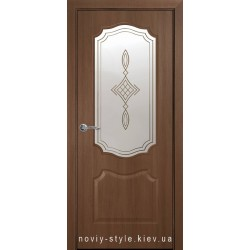 Двери Вензель Новый Стиль золотая ольха (ПВХ DeLuxe) стекло с рисунком Р1