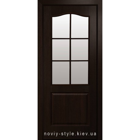Двери Классик Новый Стиль каштан (ПВХ DeLuxe) с матовым стеклом