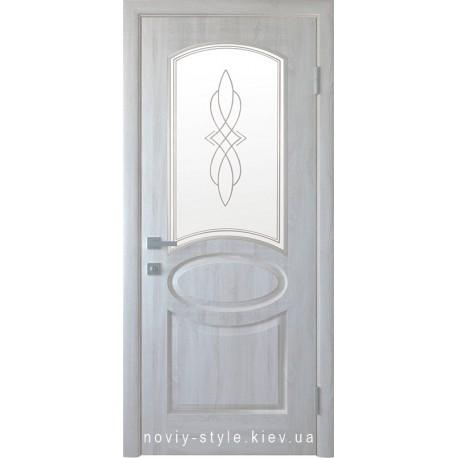 Двері Овал Новий Стиль ясен new (ПВХ DeLuxe) скло з малюнком Р1