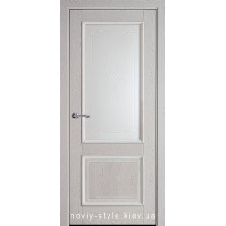 Двери Вилла Новый Стиль серая патина (ПВХ DeLuxe) стекло с рисунком Р1