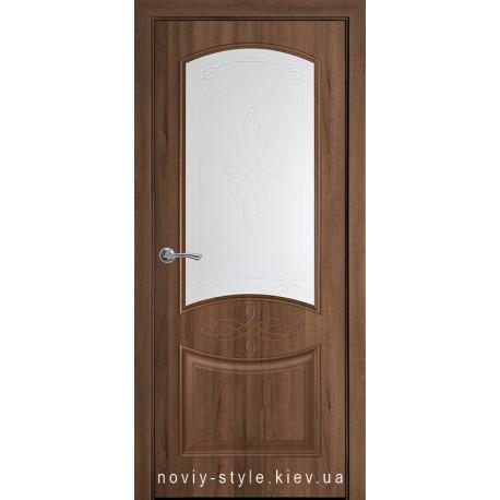 Двері Донна Новий Стиль золота вільха (ПВХ DeLuxe) скло з малюнком Р1