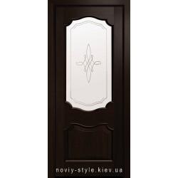 Двері Рока Новий Стиль каштан (ПВХ DeLuxe) скло з малюнком Р1