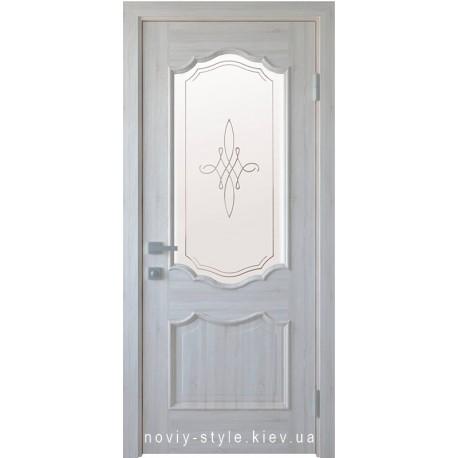 Двері Рока Новий Стиль ясен new (ПВХ DeLuxe) скло з малюнком Р1