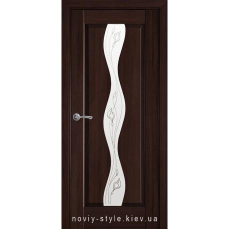 Двери Волна Новый Стиль каштан (ПВХ DeLuxe) стекло с рисунком Р2