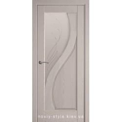 Двери Прима Новый Стиль серая патина (ПВХ DeLuxe) стекло с рисунком Р2
