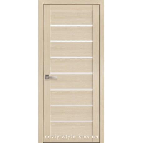 Двери Леона Новый Стиль дуб жемчужный (экошпон) с матовым стеклом