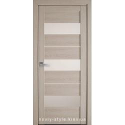 Двері Лілу Новий Стиль дуб молочний (ПВХ Ultra) з матовим склом