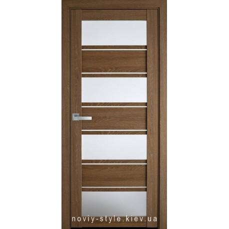 Двері Еліза Новий Стиль дуб медовий (ПВХ Ultra) з матовим склом