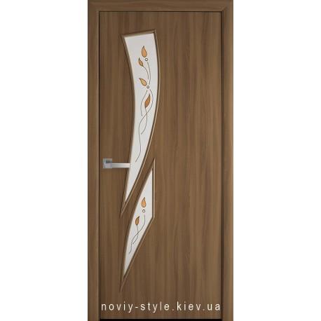 Двері Камея Новий Стиль вільха 3d (екошпон) скло з малюнком Р1