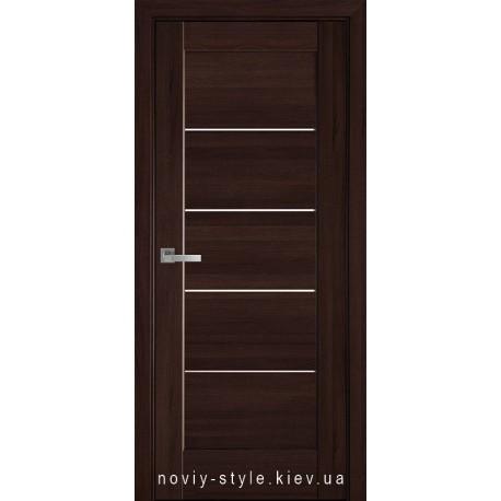 Двери Мира Новый Стиль каштан (ПВХ DeLuxe) с матовым стеклом