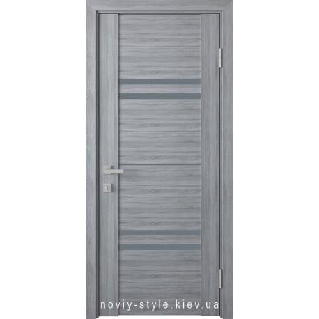 Двері Меріда Новий Стиль бук кашемір зі склом графіт