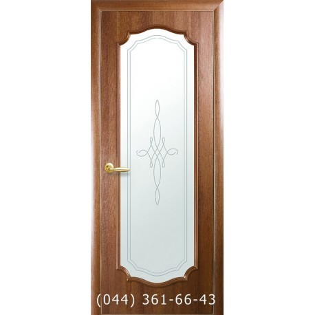 Двері Рока Новий Стиль золота вільха (ПВХ DeLuxe) скло з малюнком Р2