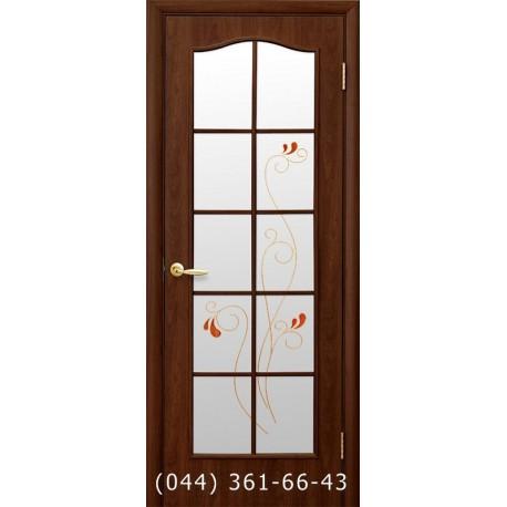 Двери Фортис С каштан стекло с рисунком р1