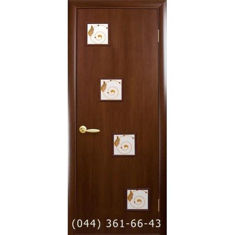 Двері Ронда Новий Стиль горіх 3d (екошпон) скло з малюнком Р1
