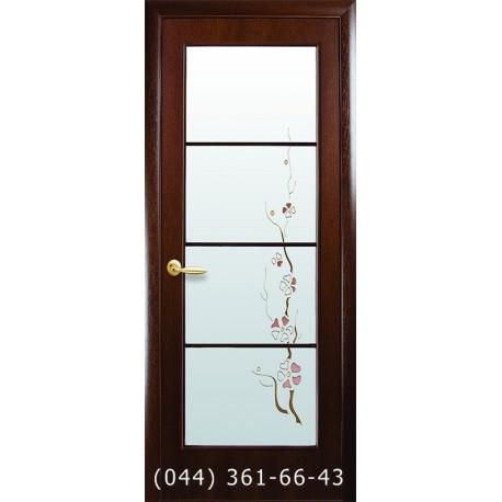 Двери Виктория орех 3d стекло с рисунком р1