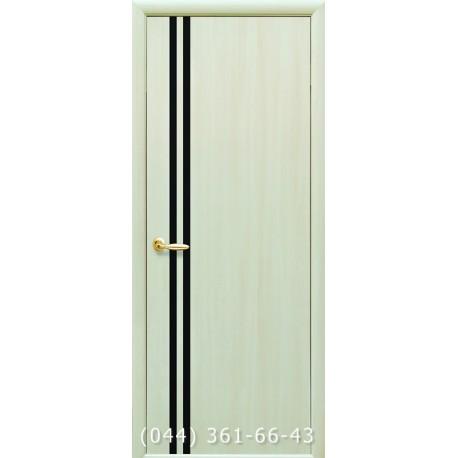 Двери Вита дуб жемчужный глухое (вставка черное стекло)