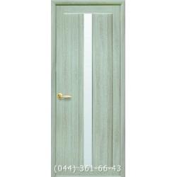 Двери Марти ясень патина с матовым стеклом